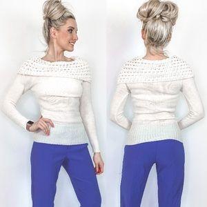 Cream Off Shoulder Sweater Top Shirt
